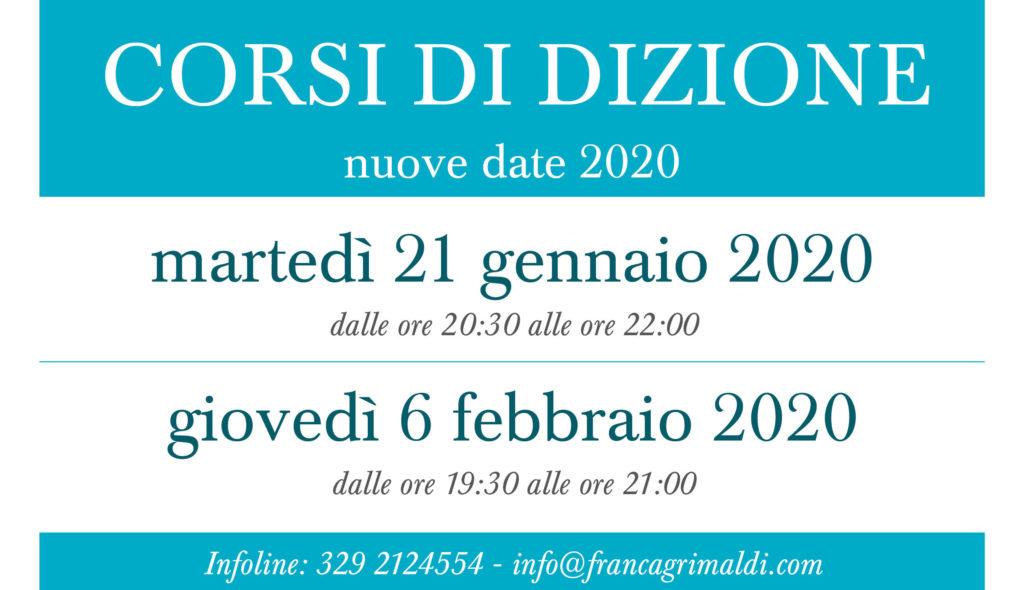 Nuovi corsi di dizione 2020 con Franca Grimaldi  Ecco le nuove date di inizio Corso di dizione e impostazione della voce a Vicenza MARTEDI'21 GENNAIO 2020con orario 20.30-22.00  Giovedì 6 FEBBRAIO 2020 con orario 19.30-21.00